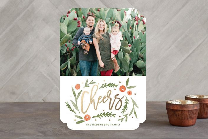 """Cheers Surrounded"" - Floral & Botanical Foil-pressed Holiday Cards in Berry Red by Oscar & Emma."