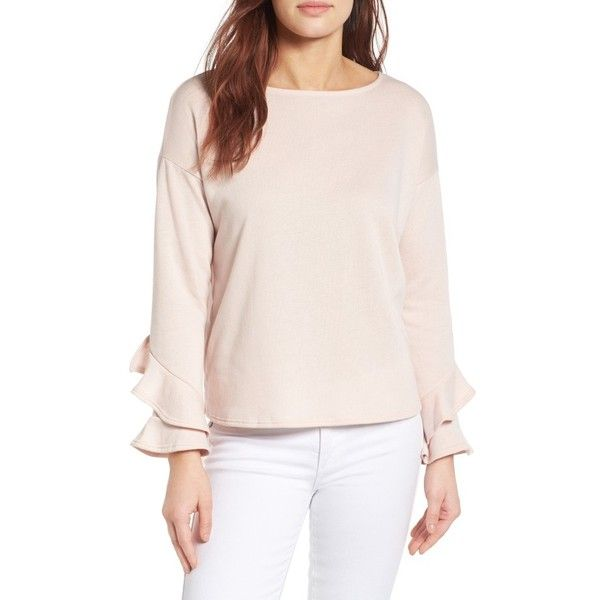 Petite Women's Gibson Ruffle Boat Neck Sweatshirt ($52) ❤ liked on Polyvore featuring tops, hoodies, sweatshirts, blush, petite, boat neck sweatshirt, pink top, pink sweatshirts, petite tops and flutter-sleeve top