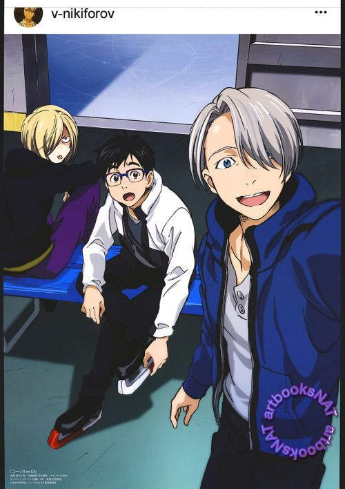 Yuri!!! on Ice (ユーリ!!! on ICE)Victor takes a shot for his Instagram, catching Yuri by surprise and Yurio making a face, in this poster art for Spoon.2Di vol. 19 (Amazon Japan). This one was illustrated by key animator Sayo Aoi (青井小夜).