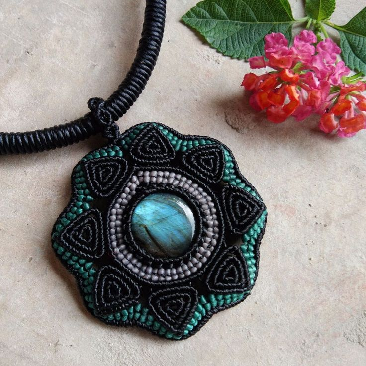 Macrame Choker Necklace Pendant Cabochon Labradorite Leather Waxed Cord Handmade…