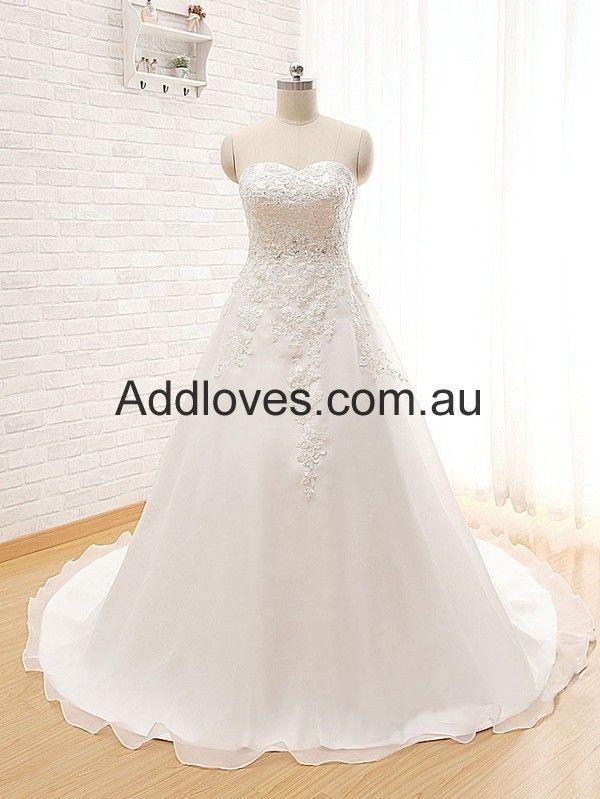 A-Line Sweetheart White Organza Wedding Dresses