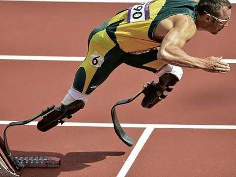"Daily life:In this video you see Oscar Pistorius running in one of his races. He is a famous para athlete who runs without legs. He is nicknamed the ""blade runner"". He was born in Johannesburg and took up running when he was 16. He got the gold medal in Athens 2004 when he was 16. He killed and shot his girlfriend which he recalls it as a mistake. He finally admitted to doing it and was thrown in jail. Start Video at 3:44"