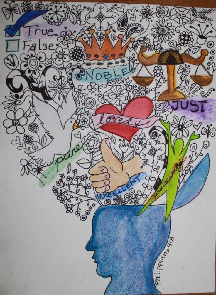 Philippians 4:8 | Faith | Bible art, Journal ideas smash ...