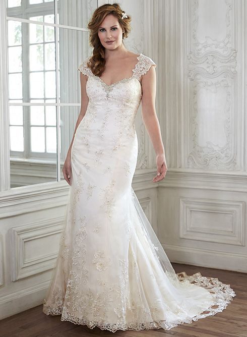 Romantic lace wedding dress, Bethany by Maggie Sottero, complete with Swarovski crystal sweetheart neckline and slim A-line silhouette.