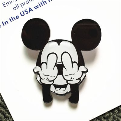 Kawaii Harajuku Mickey Mouse Badge Jeans Acrylic Brooch Children/Girl Bag Badge Decorative Rozet Collar Scarf Lapel Pin Broach