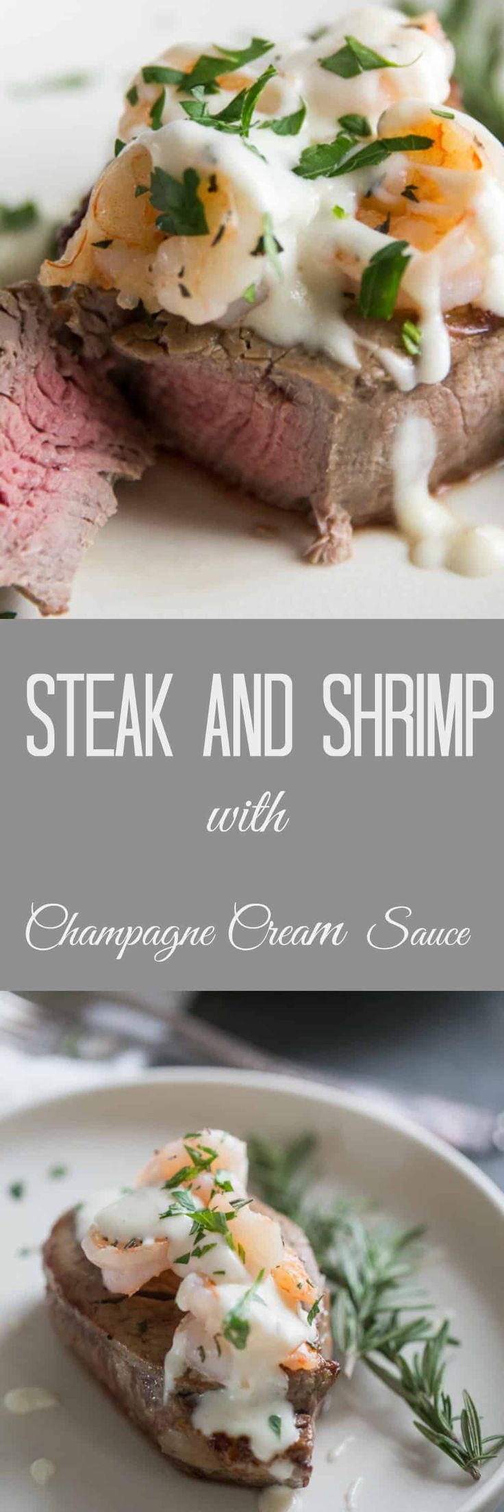 """Nothing is more romantic than a homemade meal cooked with love. Steak and shrimp are served with an elegant and luxurious champagne cream sauce for sexy dinner that screams """"I love you"""". via @Lemonsforlulu"""
