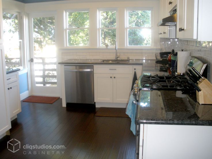 Small Yet Functional California Kitchen Remodel With Stainless Steel Appliances Black Granite