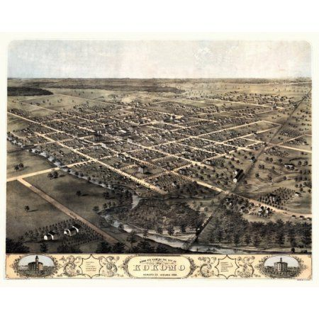 Vintage Map of Kokomo Indiana 1868 Howard County Canvas Art - (24 x 36)