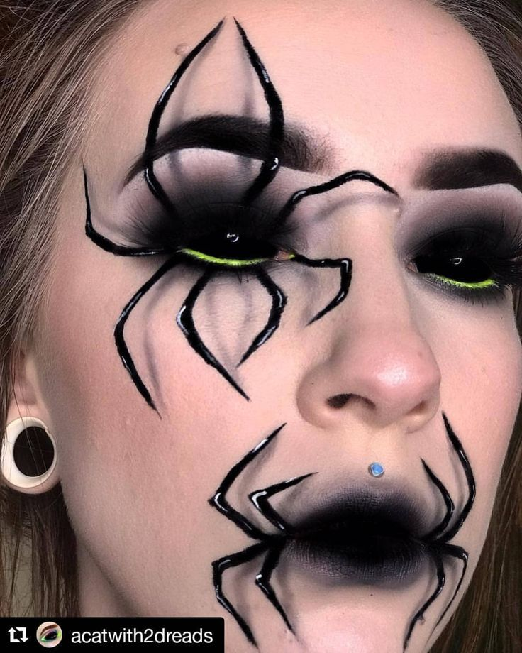 Spooky 🕷️🕸️ Halloween Makeup Art Idea From 👉 @acatwith2dreads 💘… – #aacatwith2dreads #acat…