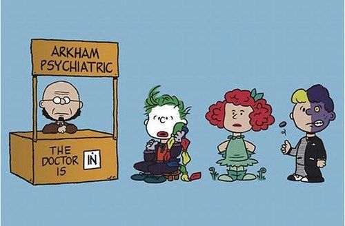 Baznet's Arkham Peanuts. AWESOME! Check out his other awesome sauce prints and shirt designs here: http://baznetart.tumblr.com/