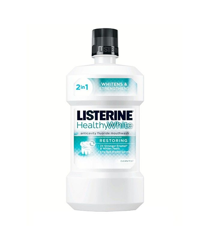 Dentists Agree: These Are the 5 Things You Need for a Better Smile via @ByrdieBeauty  Best Mouthwash: Listerine Healthy White Restoring Anticavity Mouthrinse ($9)  Sands also loves this mouthwash for white teeth and healthy gums. It also strengthens your enamel in the process—a major bonus, if you ask us.