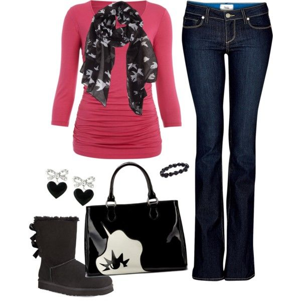 Casual Pink And Black Outfit | Fashion Forward | Pinterest | Pink Casual And Outfit Sets