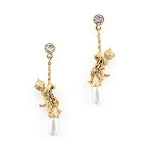 Kitten & Pearl Drop Earrings