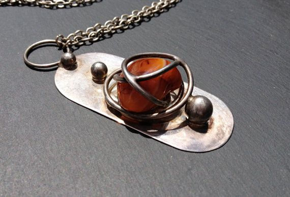 Wiggers Handmade Denmark Necklace with Caged Stone by Modernismus