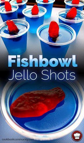 FISHBOWL JELLO SHOTS - Blue Curacao, Vodka, Swedish Fish, Berry Blue Jello