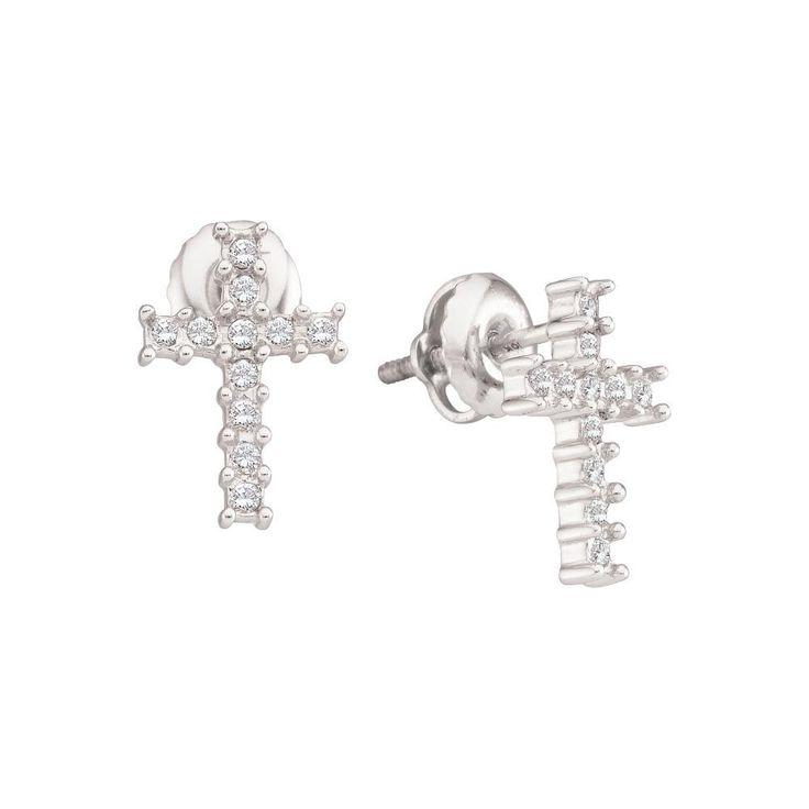 1-10CT-Diamond CROSS EARRING