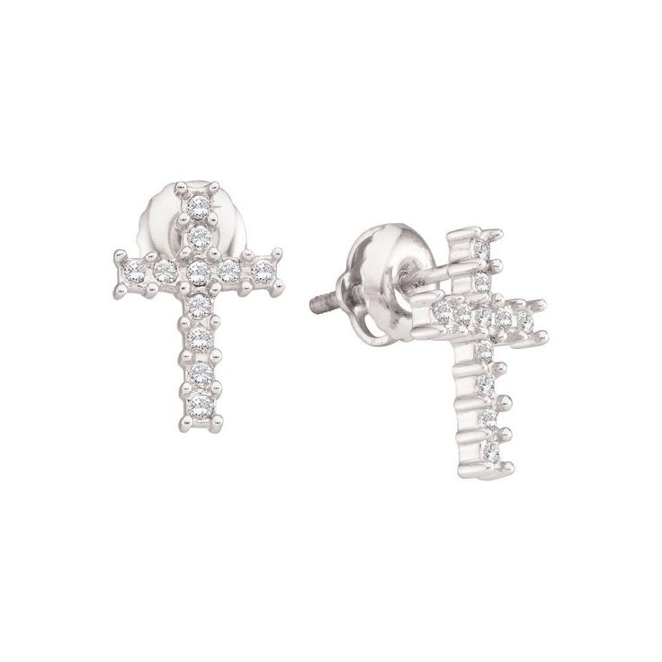 1-10CT-Diamond CROSS EARRING