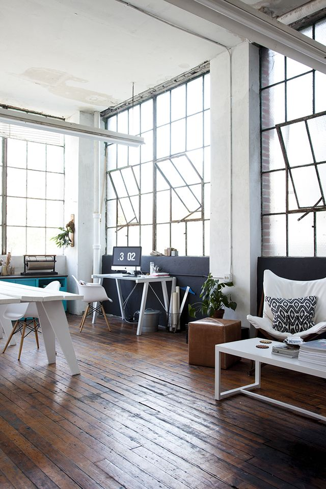 old plank floors and big open windows. dream office space // #industrial #warehouse