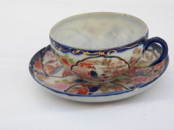 Antique Eggshell Japanese Giesha Teacup And Saucer Hand