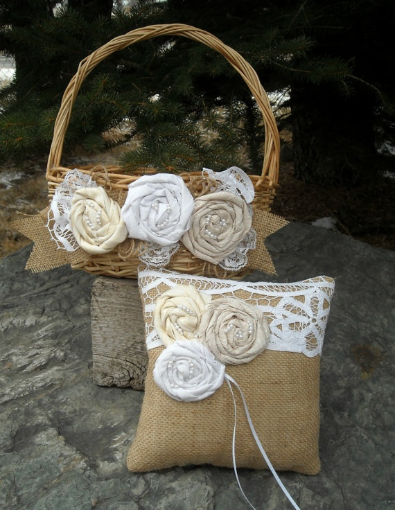 Burlap and Lace Flower Girl Basket and Ring Pillow.  You could TOTALLY do this Candace. I think you may have done the flower girl basket already though...