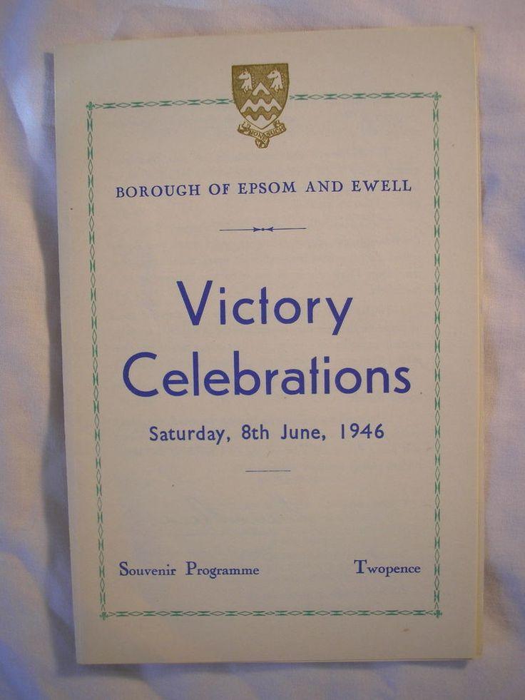 Epsom Ewell Victory Celebrations Programme 1946 Surrey VE VJ Day