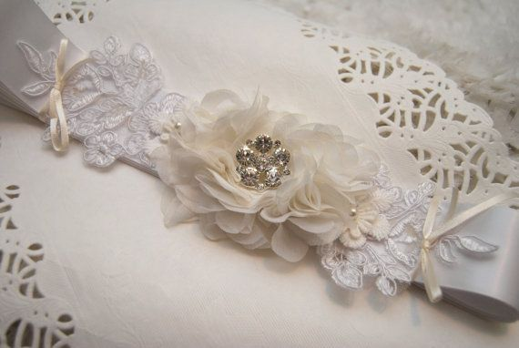 Wedding Sash Bridal Sash White Satin Belt by BridalBlushChampagne