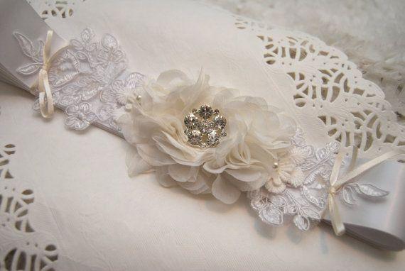 Wedding Sash Bridal Sash White Satin Belt by BridalBlushChampagne