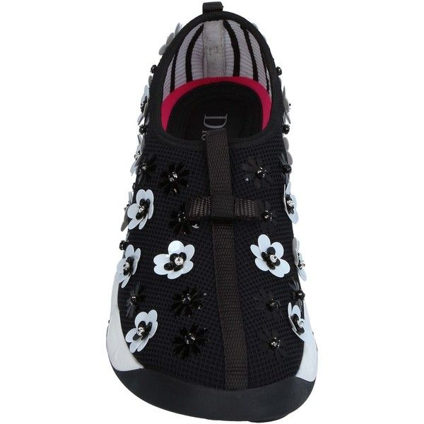 Dior Sneakers ($890) ❤ liked on Polyvore featuring shoes, sneakers, sequin flat shoes, round toe flat shoes, animal trainer, flat footwear and sequined shoes