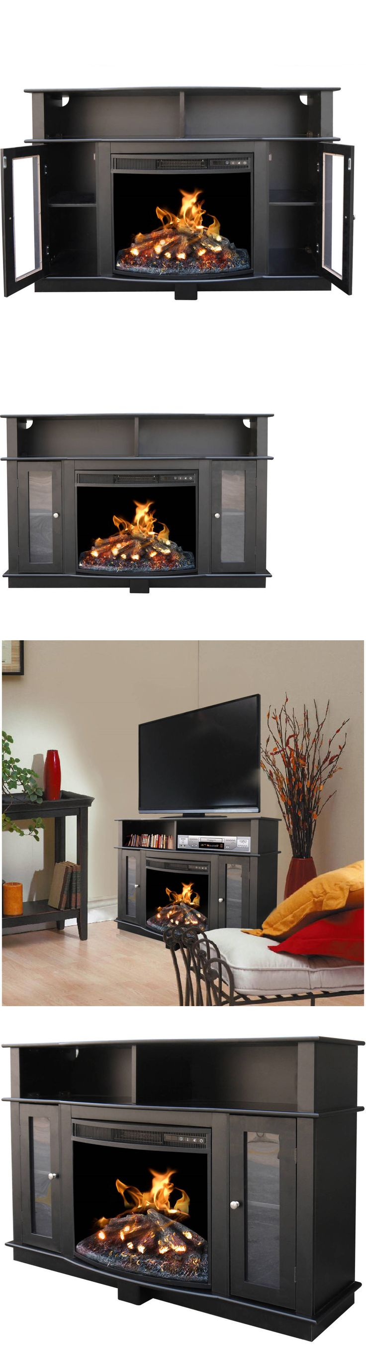 Entertainment Units TV Stands: Tv Stand Entertainment Center Media Console Shelves Electric Fireplace Black New -> BUY IT NOW ONLY: $424.44 on eBay!