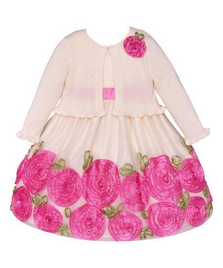 dba5c2b56e48 American Princess Pink Rose Appliqué Dress   Cardigan - Infant ...