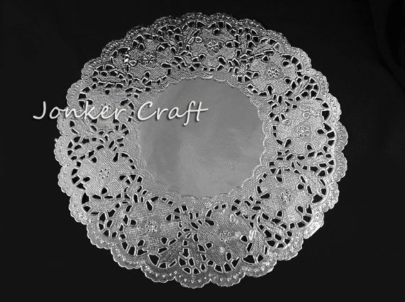 """Silver Doily Lace Doiley Doilie Paper Round 8.5"""" for Craft Scrapbooking Art Wedding Cakes Wrapping Display Metallic Shinny Bridal Shower"""