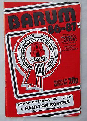 BARUM football programme Barnstaple Town FC v Paulton 21.2.87 Great Mills League