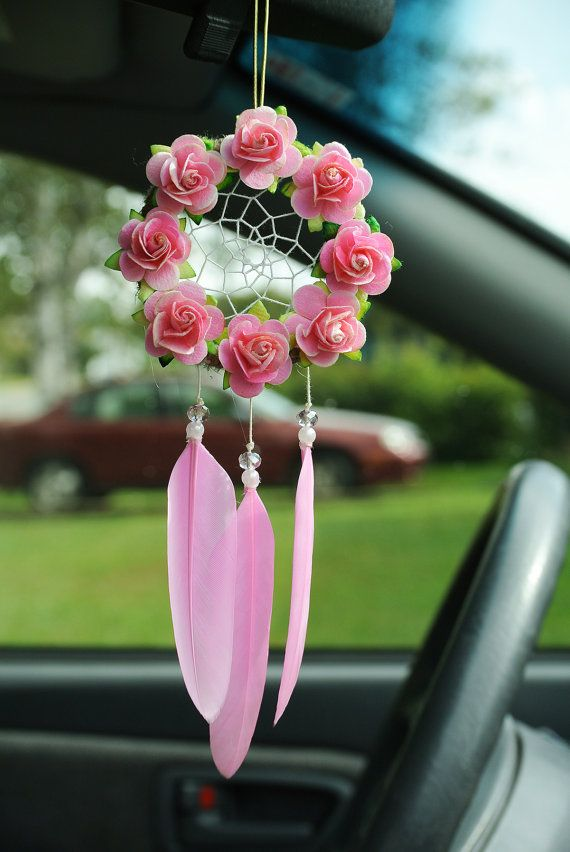 Pretty Pink Dreamcatcher: Car Dreamcatcher by SarahDycePaintings