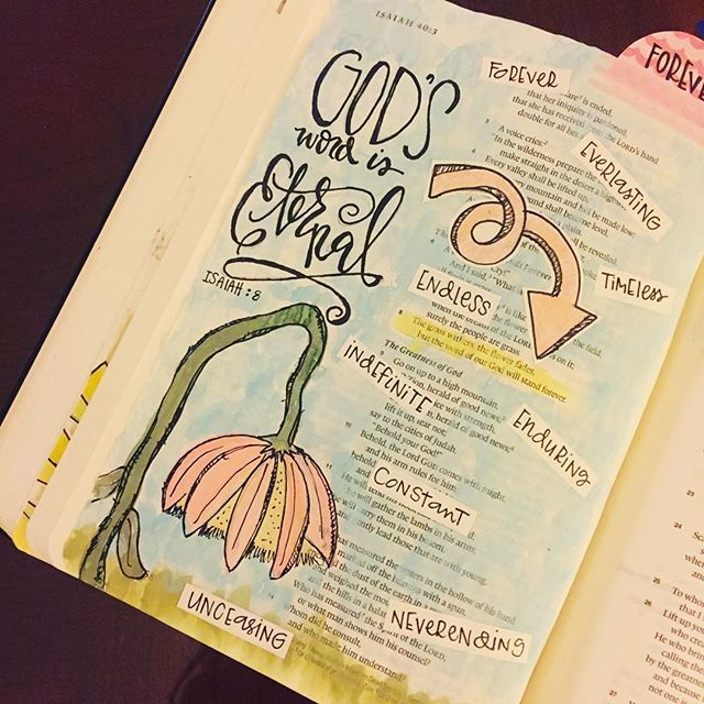 Bible Journaling by Cara Carroll @thefirstgradeparade | Isaiah 40:8