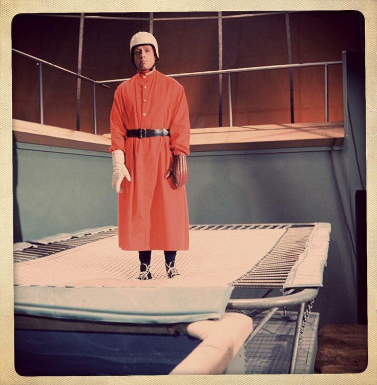 Number Six (Patrick Mcgoohan) dressed for Kosho - the strange martial arts game played out on trampolines!
