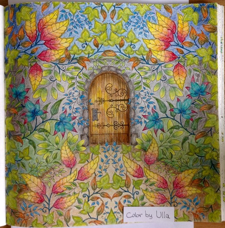 """My version, from the book """"Secret Garden"""" by Johanna Basford, painted with Lyra Polycolor pencils."""