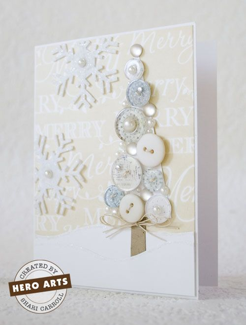 beautiful holiday card. love the button tree!