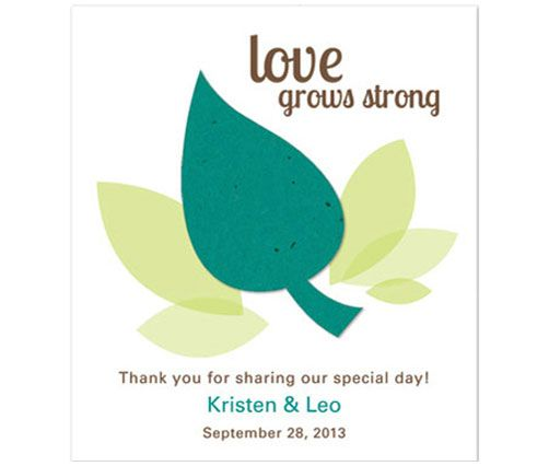 Love Grows Strong Plantable Favor Card from # theweddingoutlet.com. perfect for a spring wedding favor. http://www.maweddingguide.com/wedding-trends/wedding/MA-spring-weddings.htm