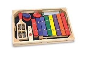 Melissa & Doug Toys: Beginner Band Set Let me start by saying Melissa & Doug make wooden toys, so please do not expect anything else from them. The  xylophone is made of wood, to me this is a plus as the sound is not as loud as a metal xylophone. The castanetes do work – you can't hold them in your hand or the sound is muffled. http://awsomegadgetsandtoysforgirlsandboys.com/melissa-and-doug-toys/ Melissa & Doug Toys: Beginner Band Set