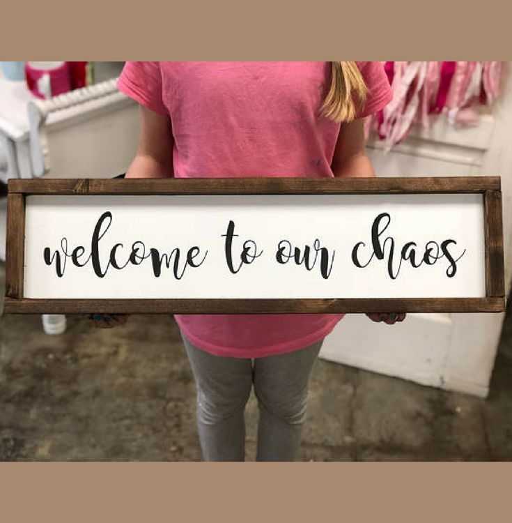 Welcome to our chaos rustic sign, framed wooden farmhouse style sign, family sign, bless this mess living room decor, rustic decor, farmhouse decor, home decor, wall decor, gift idea #ad