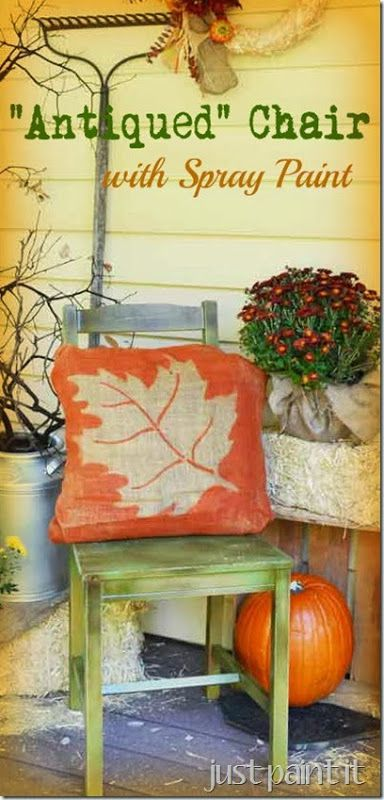 Antiqued Chair with Spray Paint. 25  unique Spray paint wood ideas on Pinterest   Spray painting
