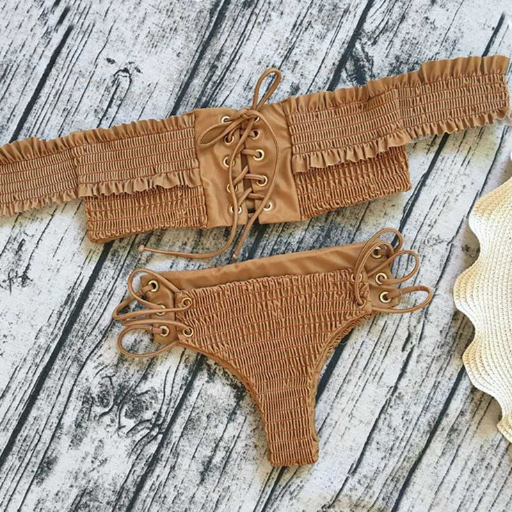 bandeau swimsuit top bandeaus strapless bikinis lace up ribbed swimsuit bottoms ruffle bikini offshoulder swim wear off shoulder bathing suit.Local Warehouse, Domestic US Shipping 2-7 days| Save an extra 30% OFF Plus Free Shipping $60+ code:BFCM17