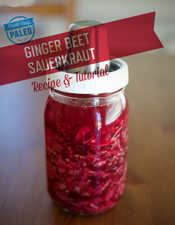 Learn how simple it is to make probiotic-rich Beet Ginger Sauerkraut at home with this easy to follow tutorial from Stupid Easy Paleo.