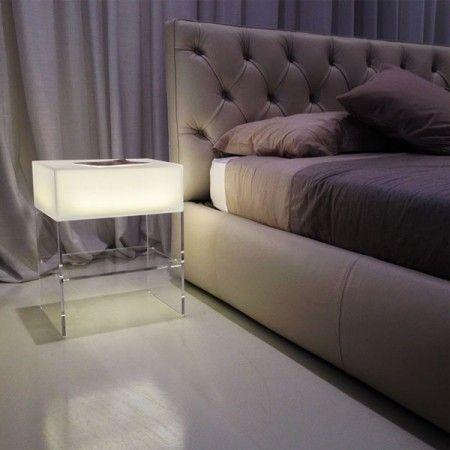 Comodino luminoso 40x30 h 50 arredamento in plexiglass for Plexiglass arredamento