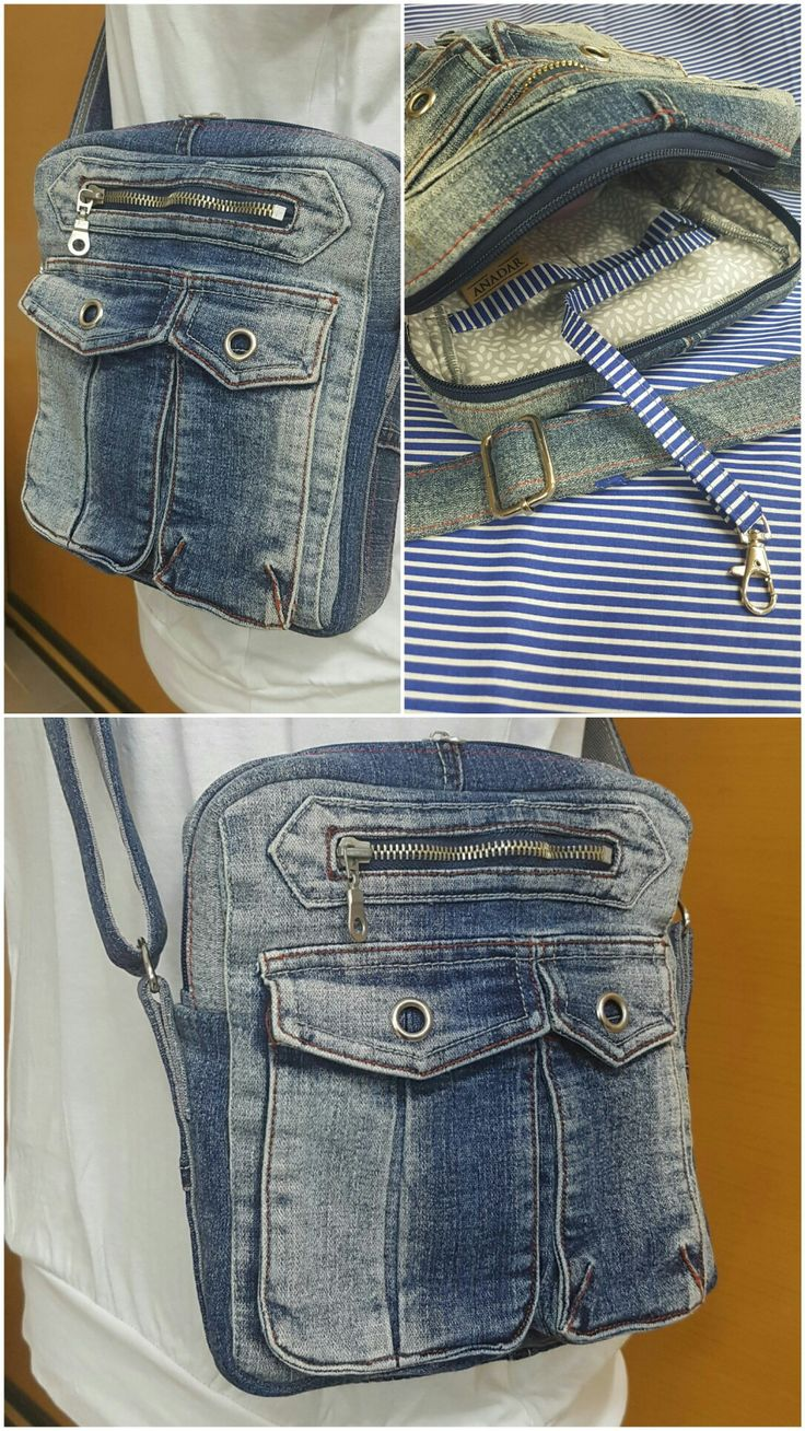 Pánská mošnička z dílny ANADAR Recykl jeans + bavlněná podšívka + prací výztuhy. Uzavíratelná na zip, nastavitelný popruh přes rameno. Uvnitř 2 kapsy a karabina na klíče.  rada.vytvarky@seznam.cz