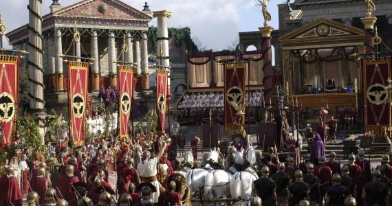 The Triumph of Julius Caesar, as imagined in the HBO Rome TV series.