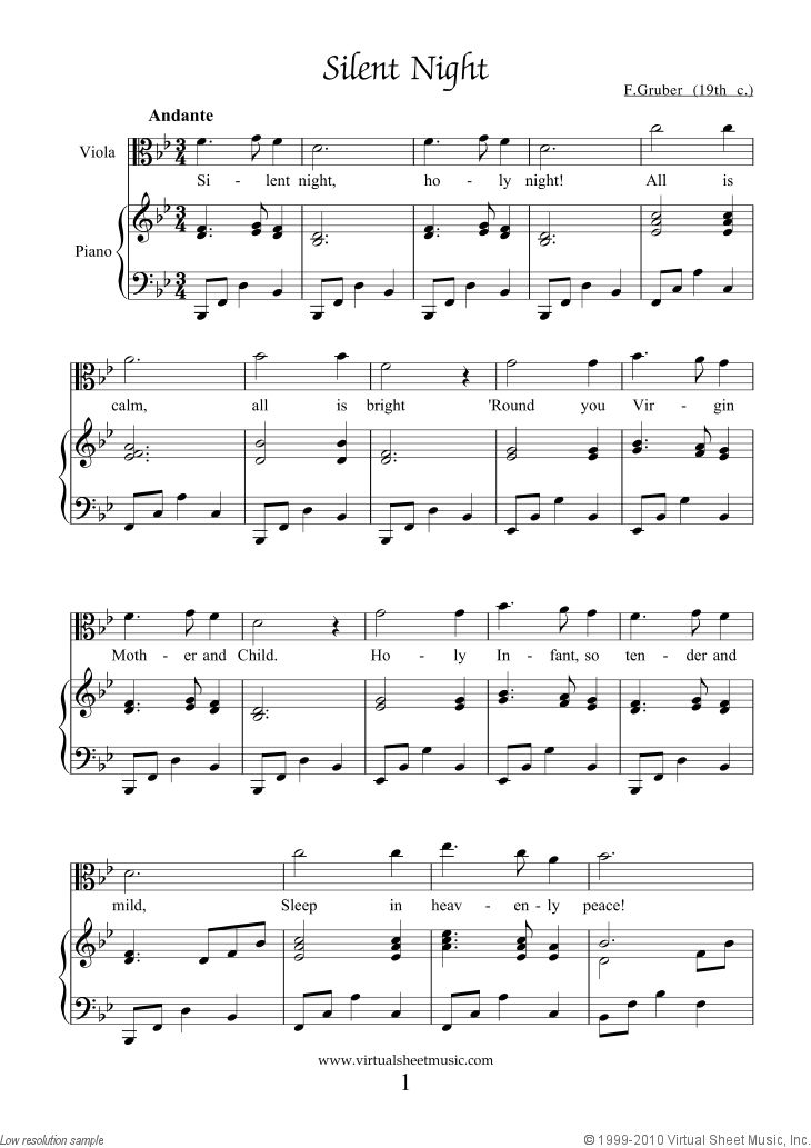 Gruber - Silent Night free PDF sheet music file for viola and piano
