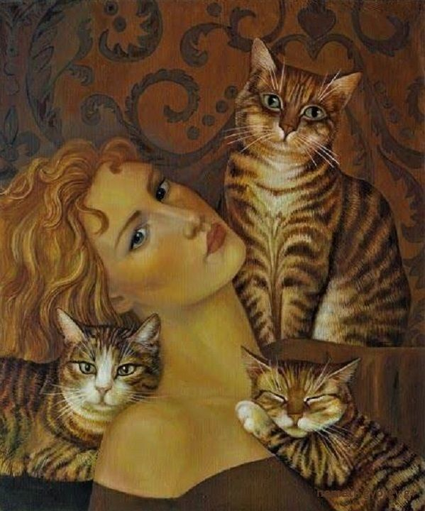 Nelly Tsenova – Cats - - When I play with my cat, who knows whether she isn't amusing herself with me more than I am with her? – Montaigne 'Essais' 1580 – {Nelly Tsenova (Bulgarian, b. 1961)}