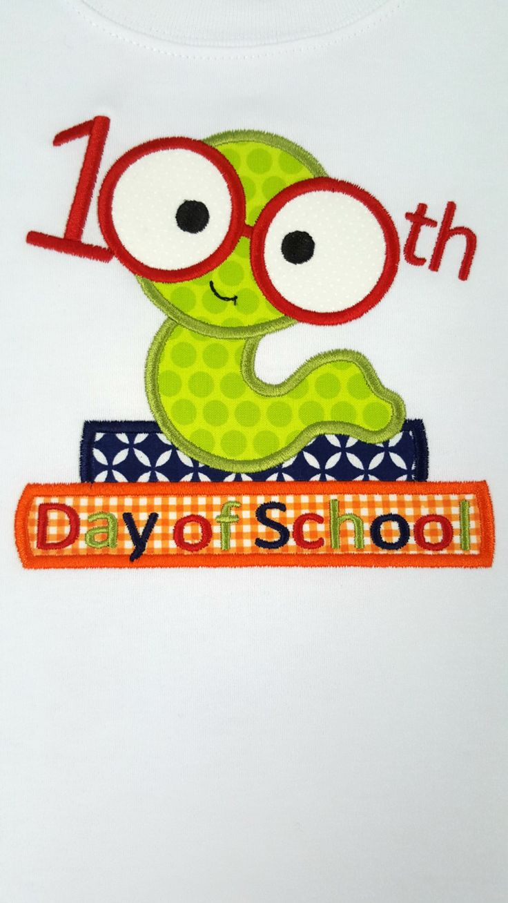 100th Day of School applique shirt for boy or girl in short or long sleeves by…