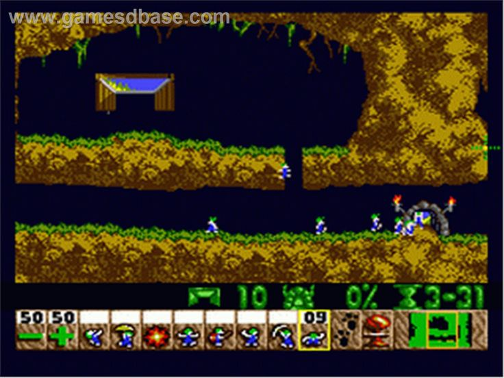 lemmings - a game that uses the environment and various tools to help get all the lemmings home.
